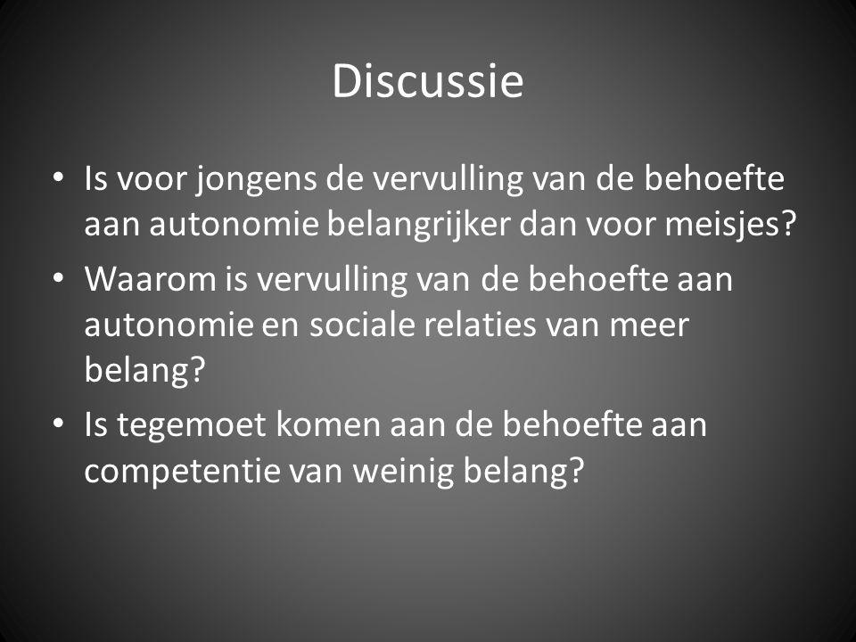 Discussie • Is voor jongens de vervulling van de behoefte aan autonomie belangrijker dan voor meisjes? • Waarom is vervulling van de behoefte aan auto