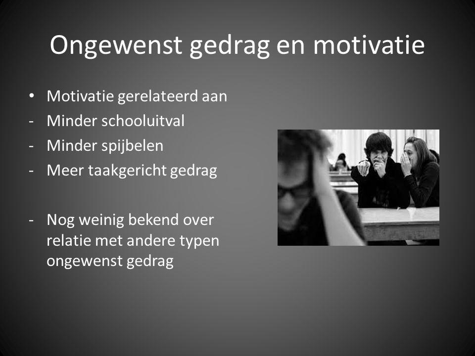 Ongewenst gedrag en motivatie • Motivatie gerelateerd aan -Minder schooluitval -Minder spijbelen -Meer taakgericht gedrag -Nog weinig bekend over relatie met andere typen ongewenst gedrag