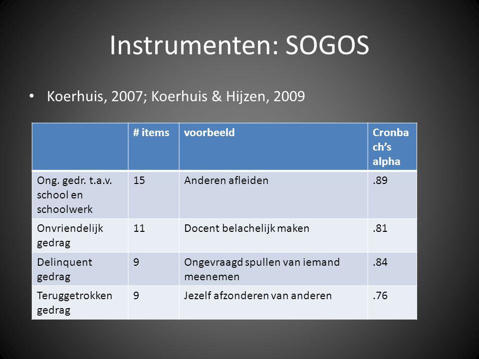 Instrumenten: SOGOS • Koerhuis, 2007; Koerhuis & Hijzen, 2009 # itemsvoorbeeldCronba ch's alpha Ong. gedr. t.a.v. school en schoolwerk 15Anderen aflei