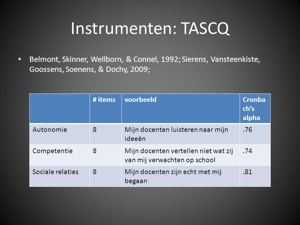 Instrumenten: TASCQ • Belmont, Skinner, Wellborn, & Connel, 1992; Sierens, Vansteenkiste, Goossens, Soenens, & Dochy, 2009; # itemsvoorbeeldCronba ch'