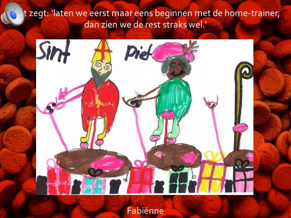 Sinterklaas en zijn pieten zijn op het sporteiland aangekomen. Piet zegt: 'we moeten nodig sporten want we hebben dit jaar veel te veel marsepein en p