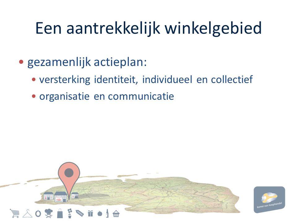 Een aantrekkelijk winkelgebied • gezamenlijk actieplan: • versterking identiteit, individueel en collectief • organisatie en communicatie