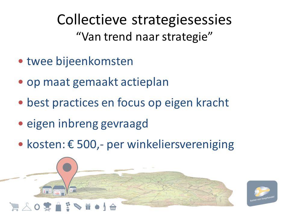 Collectieve strategiesessies Van trend naar strategie • twee bijeenkomsten • op maat gemaakt actieplan • best practices en focus op eigen kracht • eigen inbreng gevraagd • kosten: € 500,- per winkeliersvereniging