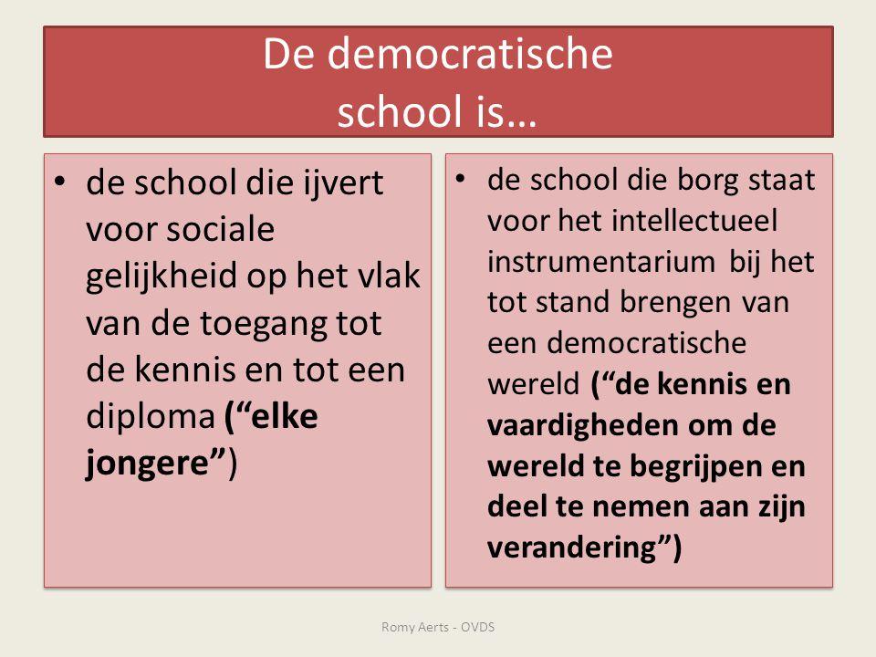 """De democratische school is… • de school die ijvert voor sociale gelijkheid op het vlak van de toegang tot de kennis en tot een diploma (""""elke jongere"""""""