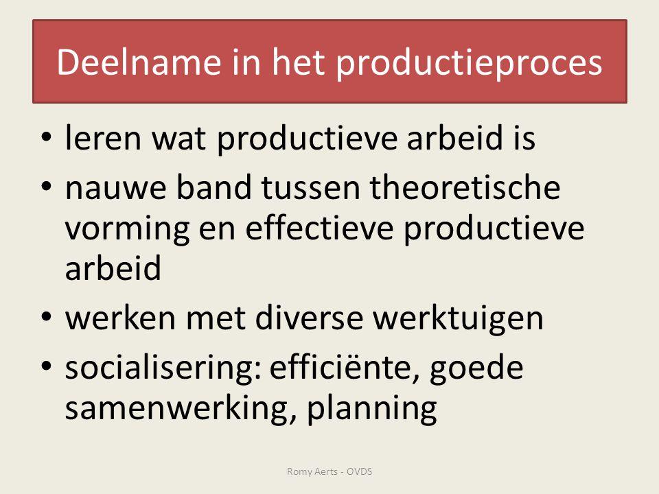 Deelname in het productieproces • leren wat productieve arbeid is • nauwe band tussen theoretische vorming en effectieve productieve arbeid • werken m