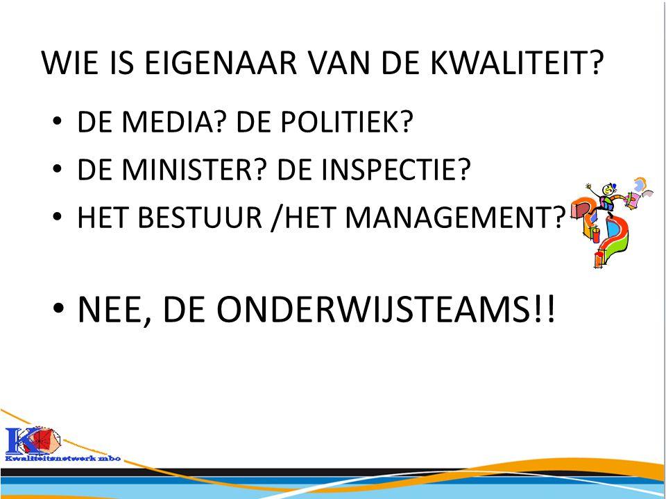 WIE IS EIGENAAR VAN DE KWALITEIT? • DE MEDIA? DE POLITIEK? • DE MINISTER? DE INSPECTIE? • HET BESTUUR /HET MANAGEMENT? • NEE, DE ONDERWIJSTEAMS!!