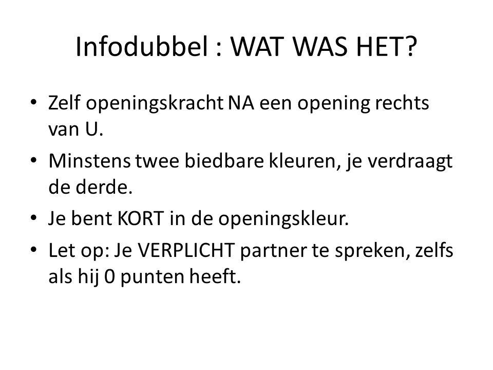 Infodubbel : WAT WAS HET.• Zelf openingskracht NA een opening rechts van U.