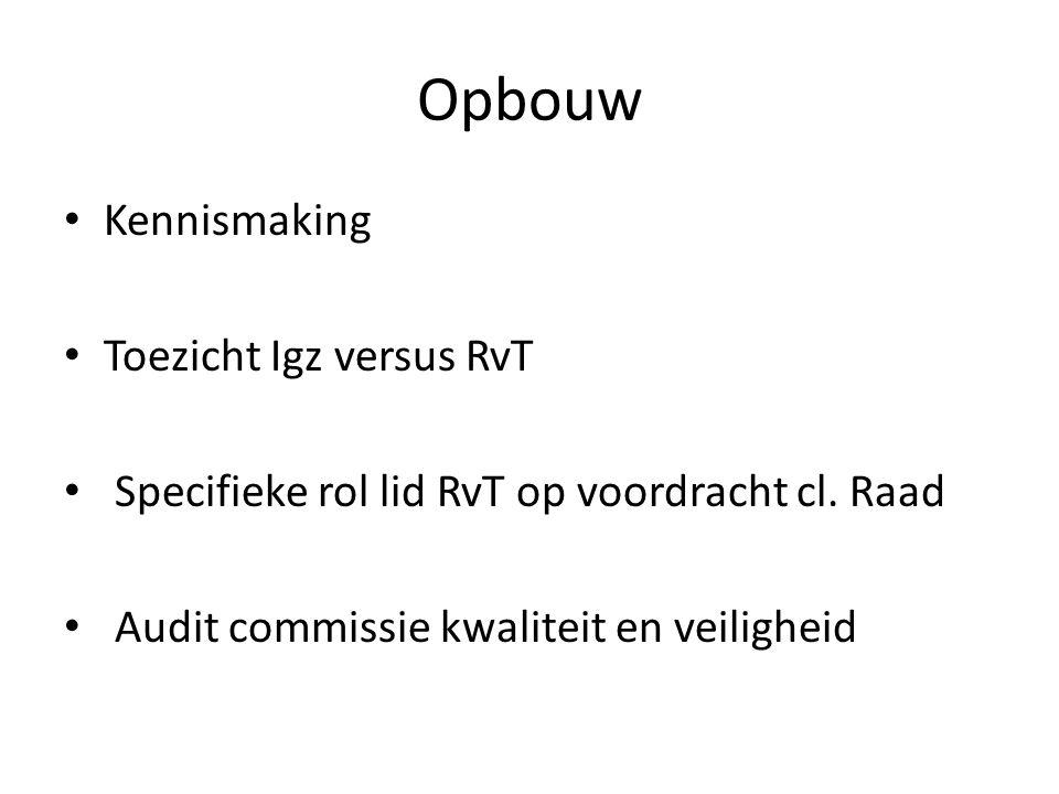 Opbouw • Kennismaking • Toezicht Igz versus RvT • Specifieke rol lid RvT op voordracht cl. Raad • Audit commissie kwaliteit en veiligheid