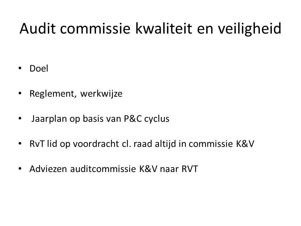 Audit commissie kwaliteit en veiligheid • Doel • Reglement, werkwijze • Jaarplan op basis van P&C cyclus • RvT lid op voordracht cl. raad altijd in co