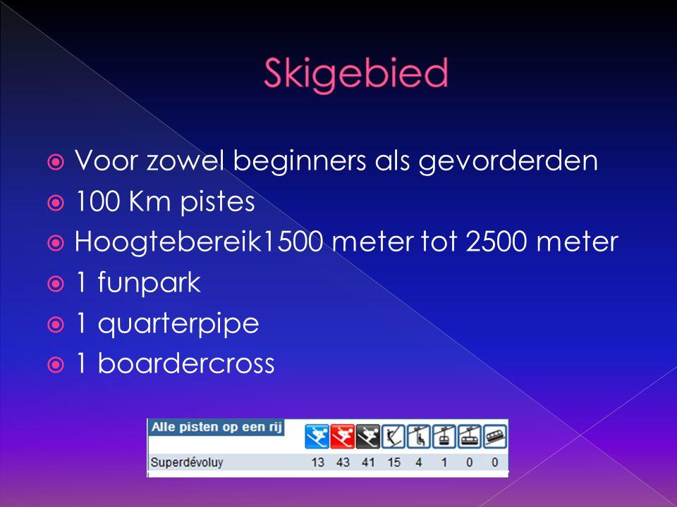  Voor zowel beginners als gevorderden  100 Km pistes  Hoogtebereik1500 meter tot 2500 meter  1 funpark  1 quarterpipe  1 boardercross