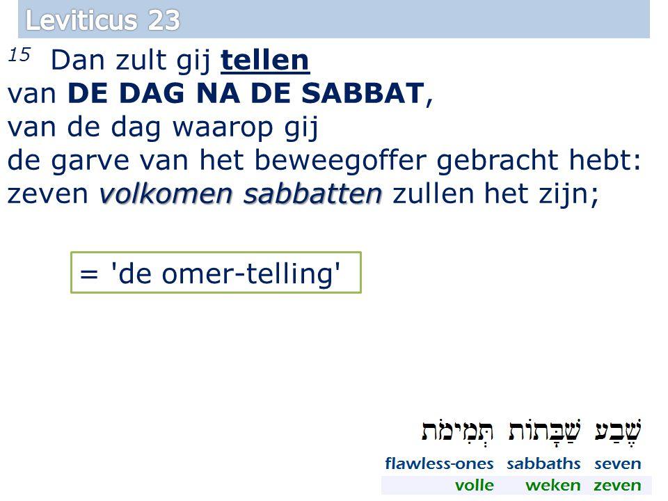volkomen sabbatten 15 Dan zult gij tellen van DE DAG NA DE SABBAT, van de dag waarop gij de garve van het beweegoffer gebracht hebt: zeven volkomen sabbatten zullen het zijn; 34 = de omer-telling
