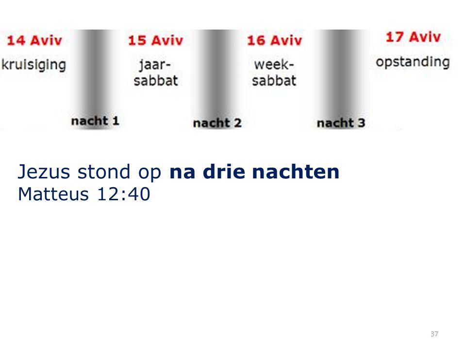 37 Jezus stond op na drie nachten Matteus 12:40