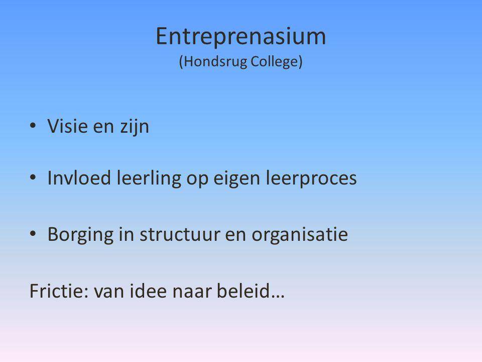 Entreprenasium (Hondsrug College) • Visie en zijn • Invloed leerling op eigen leerproces • Borging in structuur en organisatie Frictie: van idee naar beleid…