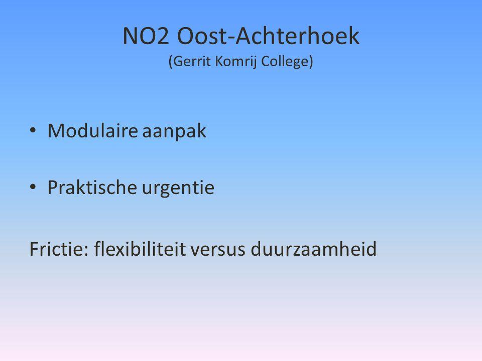 NO2 Oost-Achterhoek (Gerrit Komrij College) • Modulaire aanpak • Praktische urgentie Frictie: flexibiliteit versus duurzaamheid
