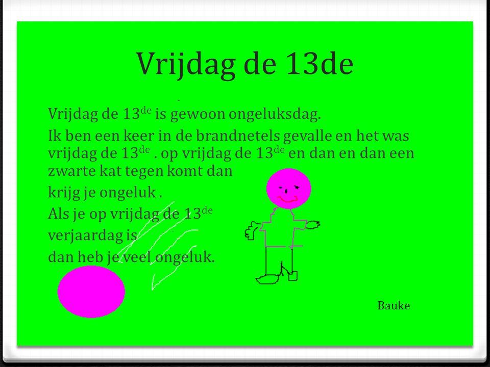 Vrijdag de 13de Vrijdag de 13 de is gewoon ongeluksdag. Ik ben een keer in de brandnetels gevalle en het was vrijdag de 13 de. op vrijdag de 13 de en