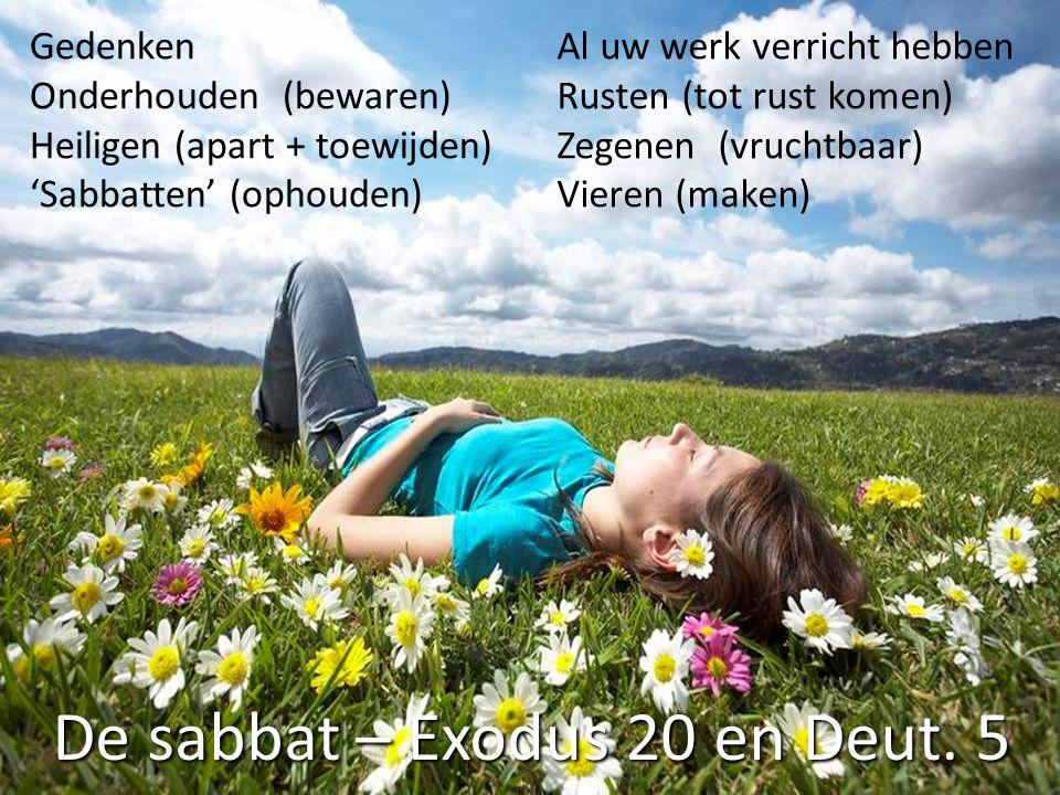 De sabbat – Exodus 20 en Deut. 5 Gedenken Onderhouden (bewaren) Heiligen (apart + toewijden) 'Sabbatten' (ophouden) Al uw werk verricht hebben Rusten
