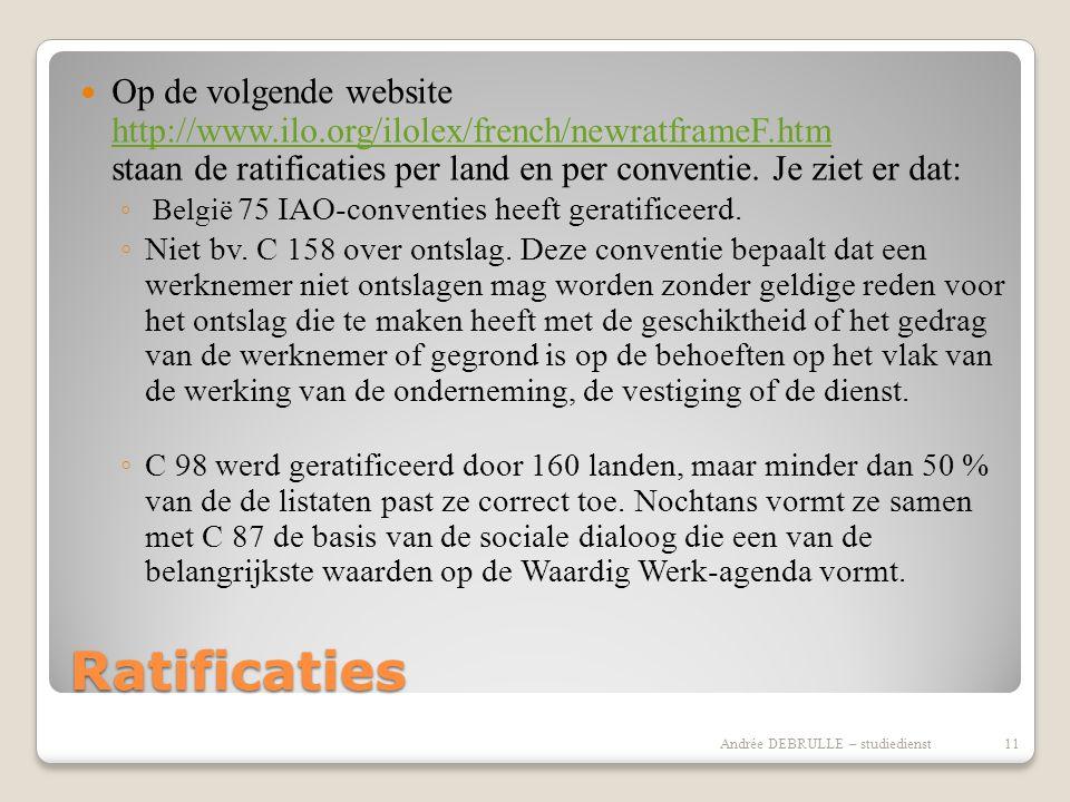 Ratificaties  Op de volgende website http://www.ilo.org/ilolex/french/newratframeF.htm staan de ratificaties per land en per conventie.