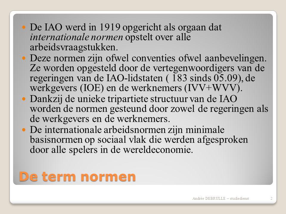 De term normen  De IAO werd in 1919 opgericht als orgaan dat internationale normen opstelt over alle arbeidsvraagstukken.