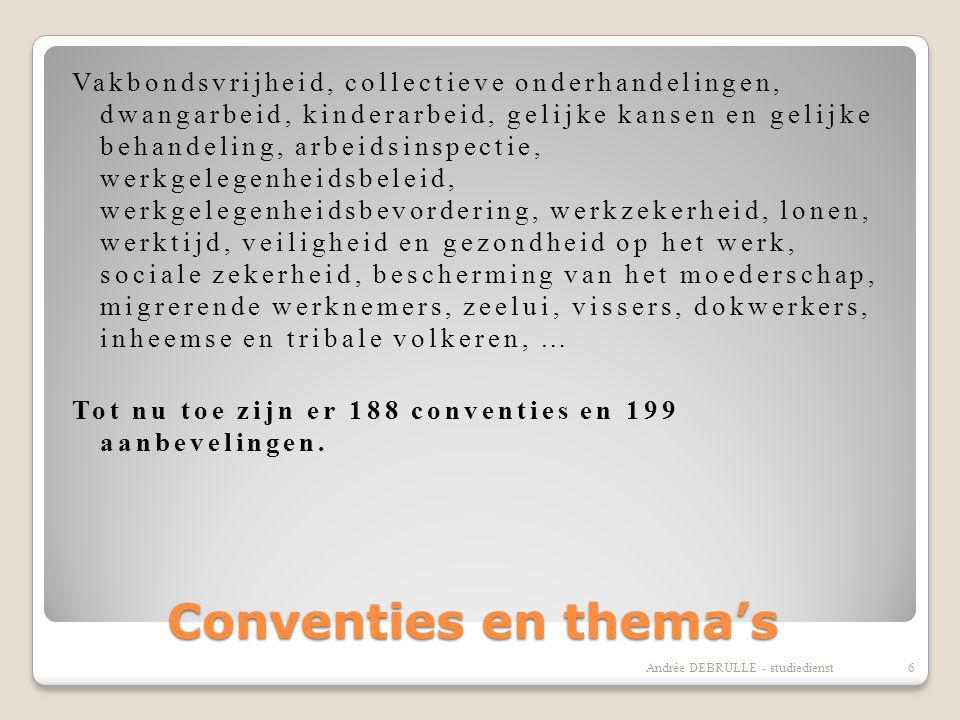 Conventies en thema's Vakbondsvrijheid, collectieve onderhandelingen, dwangarbeid, kinderarbeid, gelijke kansen en gelijke behandeling, arbeidsinspectie, werkgelegenheidsbeleid, werkgelegenheidsbevordering, werkzekerheid, lonen, werktijd, veiligheid en gezondheid op het werk, sociale zekerheid, bescherming van het moederschap, migrerende werknemers, zeelui, vissers, dokwerkers, inheemse en tribale volkeren, … Tot nu toe zijn er 188 conventies en 199 aanbevelingen.