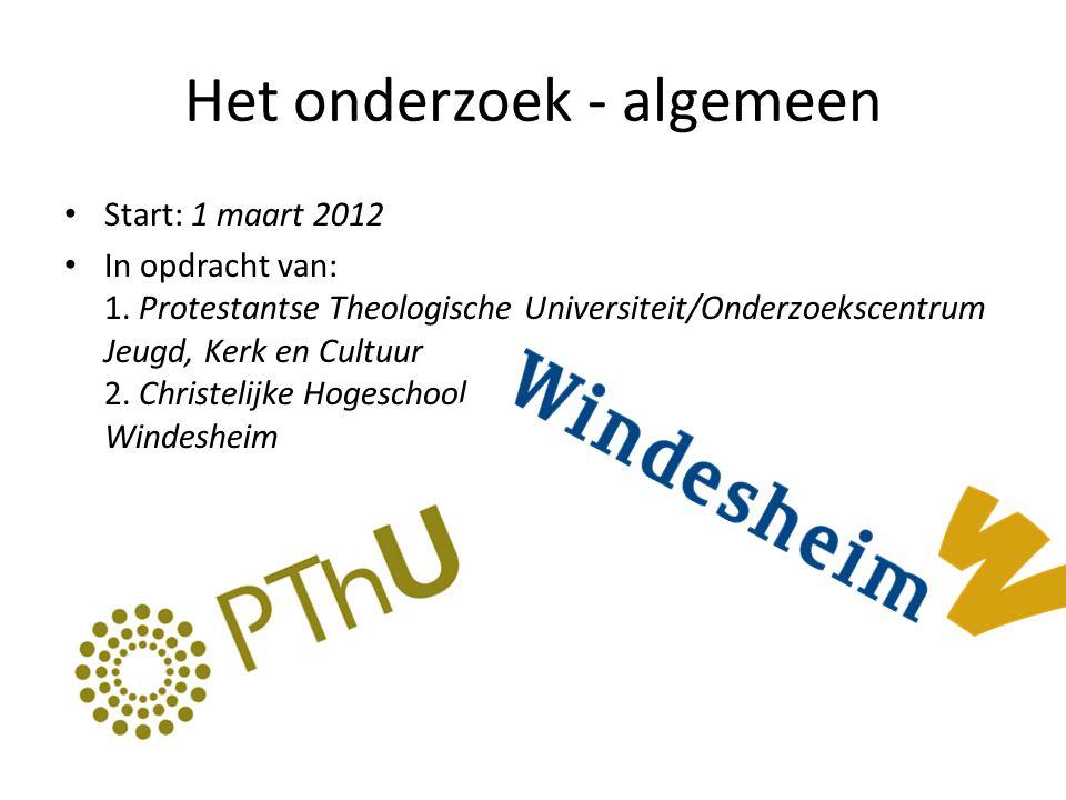 Het onderzoek - algemeen • Start: 1 maart 2012 • In opdracht van: 1. Protestantse Theologische Universiteit/Onderzoekscentrum Jeugd, Kerk en Cultuur 2