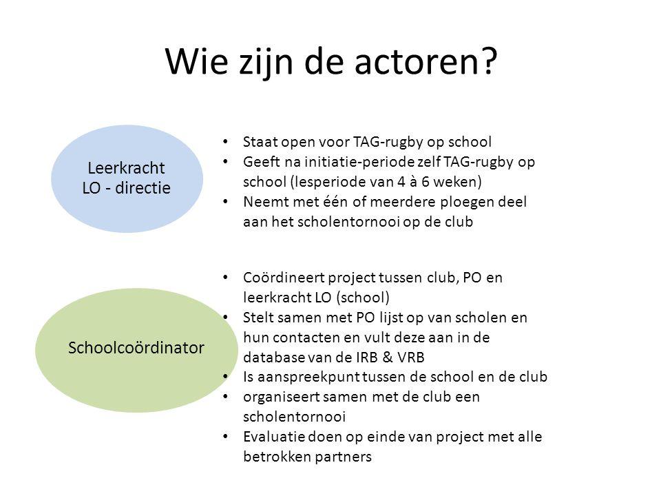 Wie zijn de actoren? Leerkracht LO - directie Schoolcoördinator • Staat open voor TAG-rugby op school • Geeft na initiatie-periode zelf TAG-rugby op s