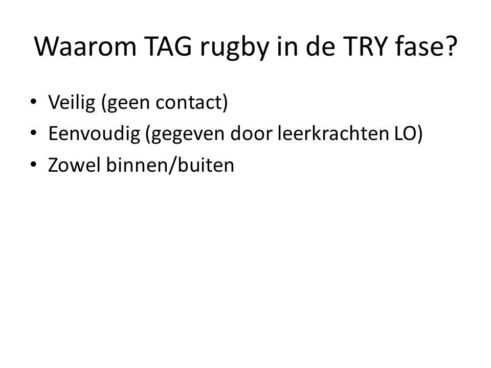 Waarom TAG rugby in de TRY fase? • Veilig (geen contact) • Eenvoudig (gegeven door leerkrachten LO) • Zowel binnen/buiten