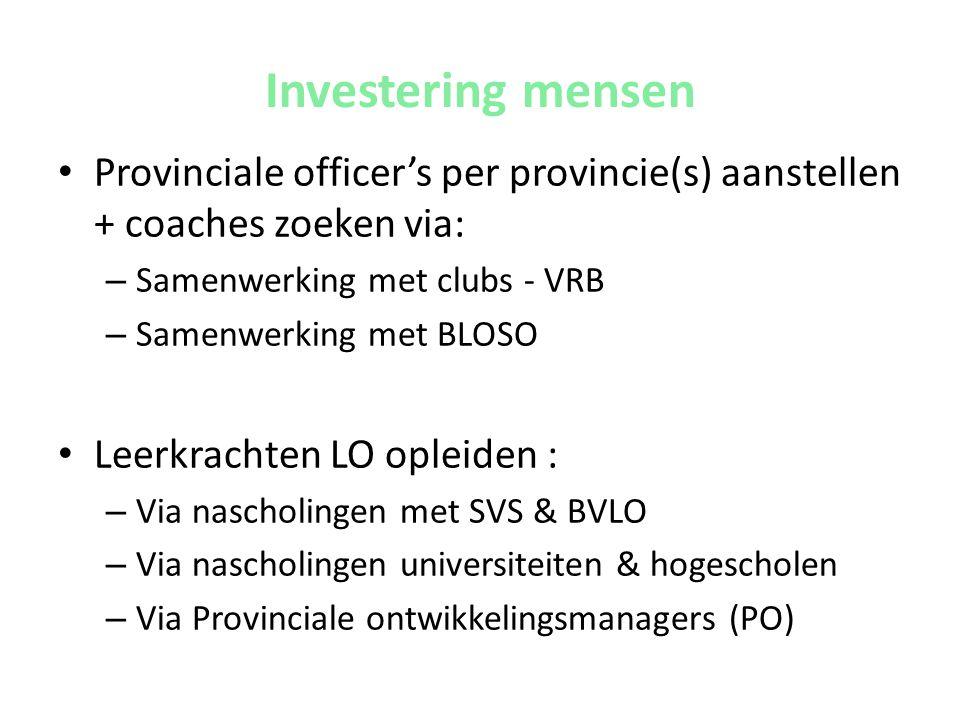 Investering mensen • Provinciale officer's per provincie(s) aanstellen + coaches zoeken via: – Samenwerking met clubs - VRB – Samenwerking met BLOSO •