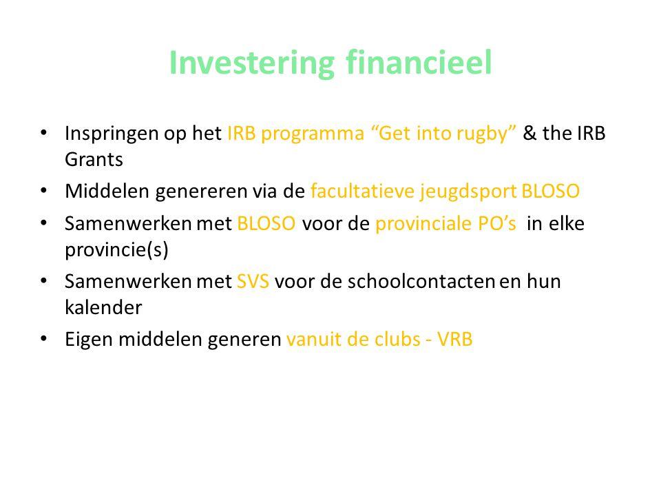 """Investering financieel • Inspringen op het IRB programma """"Get into rugby"""" & the IRB Grants • Middelen genereren via de facultatieve jeugdsport BLOSO •"""