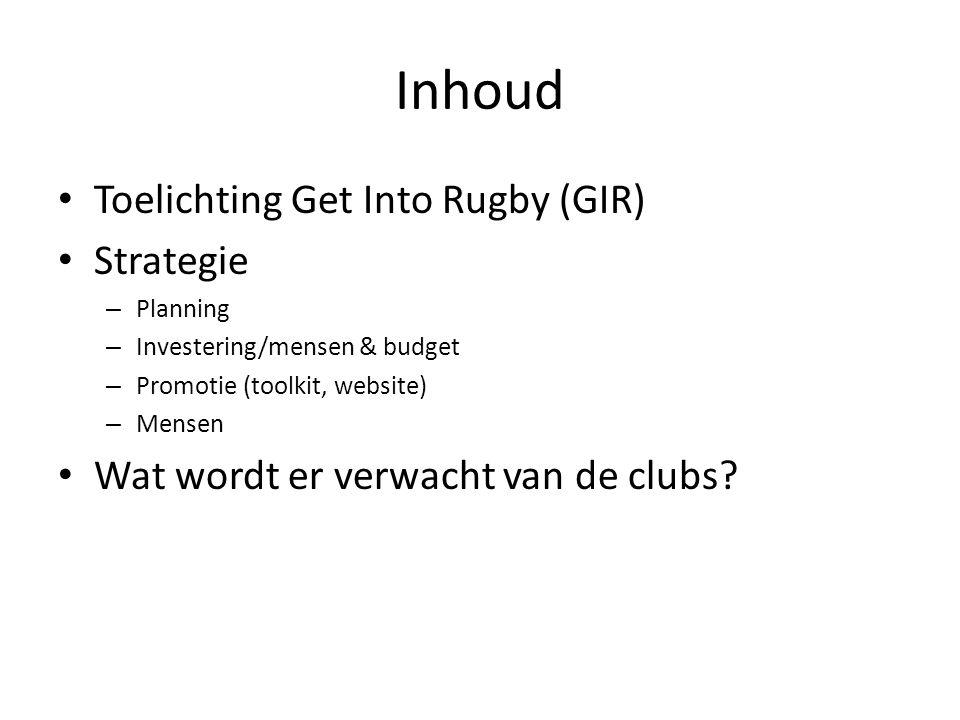 Inhoud • Toelichting Get Into Rugby (GIR) • Strategie – Planning – Investering/mensen & budget – Promotie (toolkit, website) – Mensen • Wat wordt er v