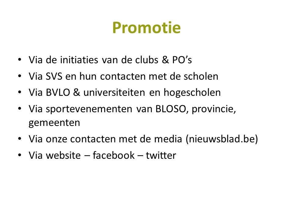 Promotie • Via de initiaties van de clubs & PO's • Via SVS en hun contacten met de scholen • Via BVLO & universiteiten en hogescholen • Via sportevene