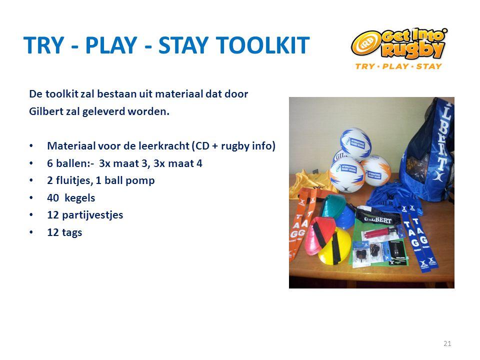 TRY - PLAY - STAY TOOLKIT De toolkit zal bestaan uit materiaal dat door Gilbert zal geleverd worden. • Materiaal voor de leerkracht (CD + rugby info)