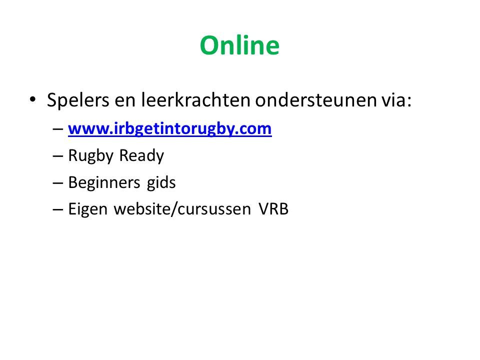Online • Spelers en leerkrachten ondersteunen via: – www.irbgetintorugby.com www.irbgetintorugby.com – Rugby Ready – Beginners gids – Eigen website/cu