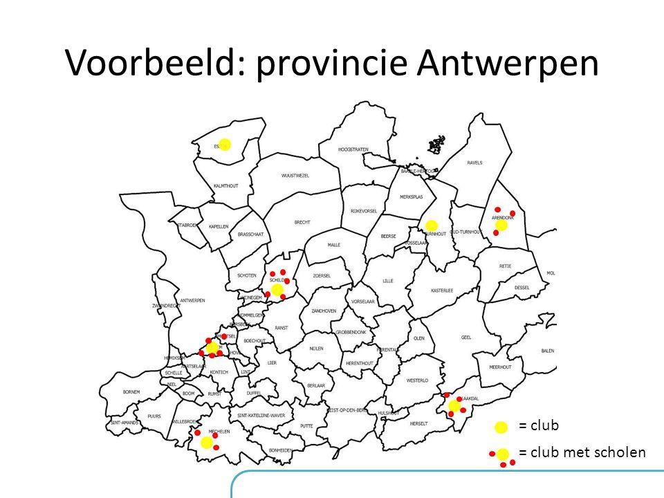 Voorbeeld: provincie Antwerpen = club = club met scholen •16 clubs hebben vorig jaar ingeschreven voor het Verdi-project •Indien er terug 16 clubs ins