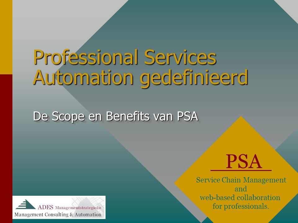 Professional Services Automation gedefinieerd PSA Service Chain Management and web-based collaboration for professionals. De Scope en Benefits van PSA