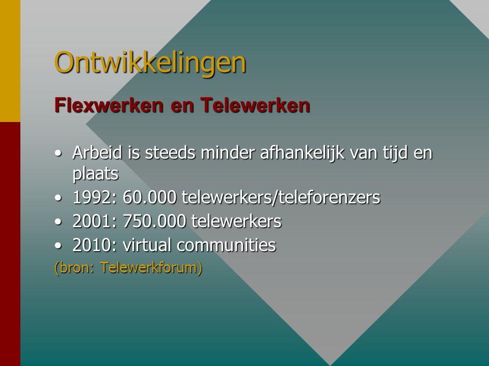 Ontwikkelingen Flexwerken en Telewerken •Arbeid is steeds minder afhankelijk van tijd en plaats •1992: 60.000 telewerkers/teleforenzers •2001: 750.000 telewerkers •2010: virtual communities (bron: Telewerkforum)