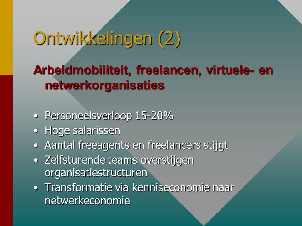 Ontwikkelingen (2) Arbeidmobiliteit, freelancen, virtuele- en netwerkorganisaties •Personeelsverloop 15-20% •Hoge salarissen •Aantal freeagents en freelancers stijgt •Zelfsturende teams overstijgen organisatiestructuren •Transformatie via kenniseconomie naar netwerkeconomie