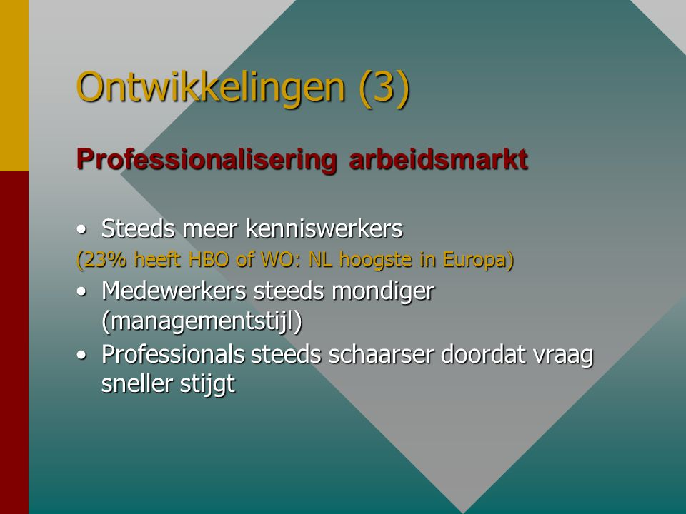 Ontwikkelingen (3) Professionalisering arbeidsmarkt •Steeds meer kenniswerkers (23% heeft HBO of WO: NL hoogste in Europa) •Medewerkers steeds mondige