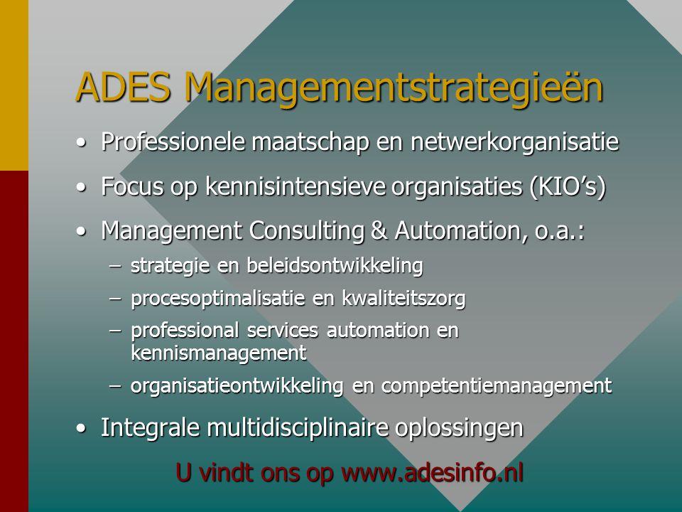 ADES Managementstrategieën •Professionele maatschap en netwerkorganisatie •Focus op kennisintensieve organisaties (KIO's) •Management Consulting & Automation, o.a.: –strategie en beleidsontwikkeling –procesoptimalisatie en kwaliteitszorg –professional services automation en kennismanagement –organisatieontwikkeling en competentiemanagement •Integrale multidisciplinaire oplossingen U vindt ons op www.adesinfo.nl