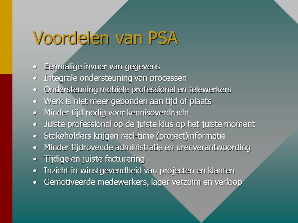 Voordelen van PSA •Eenmalige invoer van gegevens •Integrale ondersteuning van processen •Ondersteuning mobiele professional en telewerkers •Werk is ni