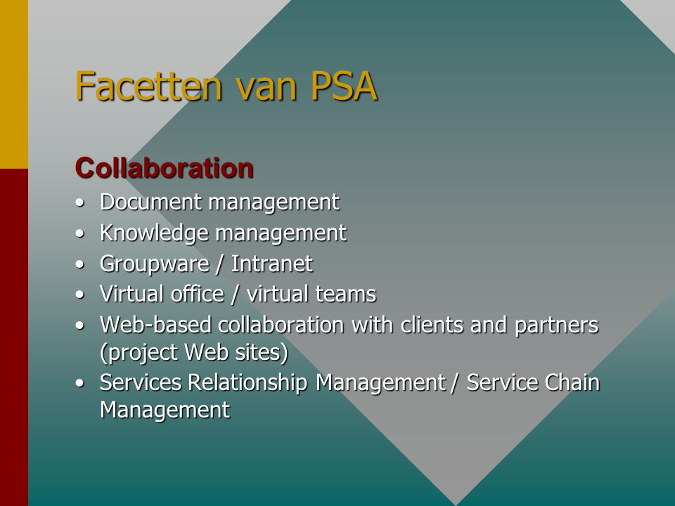Facetten van PSA Collaboration •Document management •Knowledge management •Groupware / Intranet •Virtual office / virtual teams •Web-based collaborati