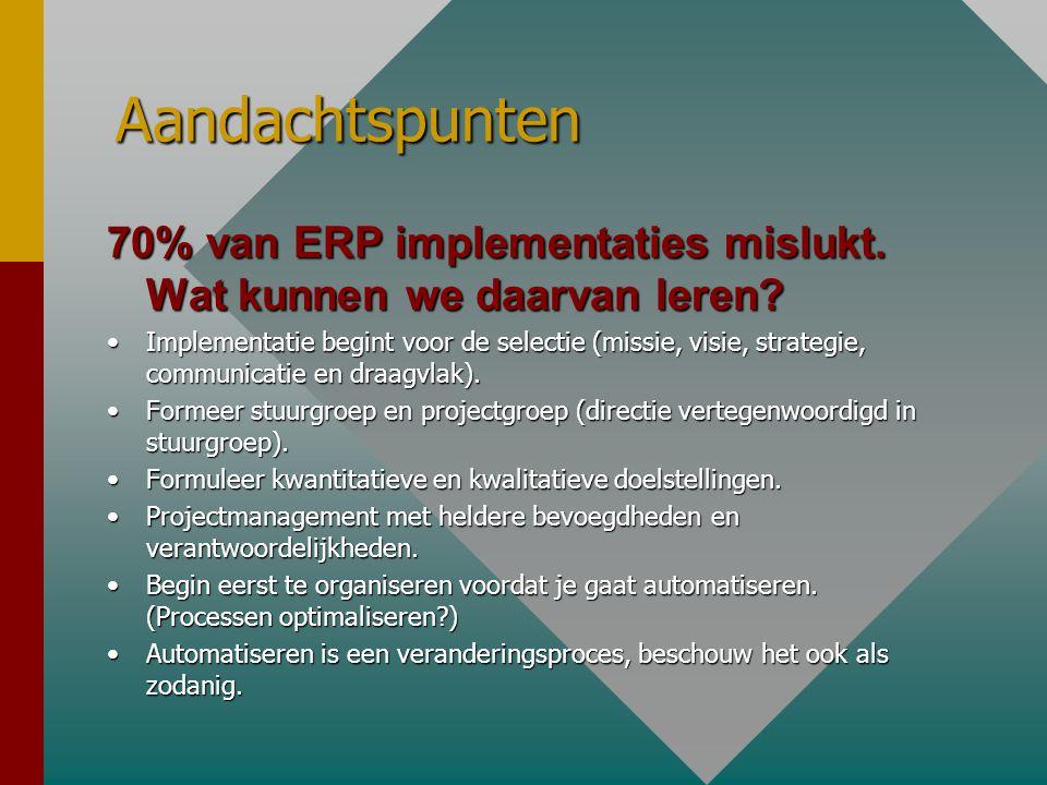 Aandachtspunten 70% van ERP implementaties mislukt. Wat kunnen we daarvan leren? •Implementatie begint voor de selectie (missie, visie, strategie, com