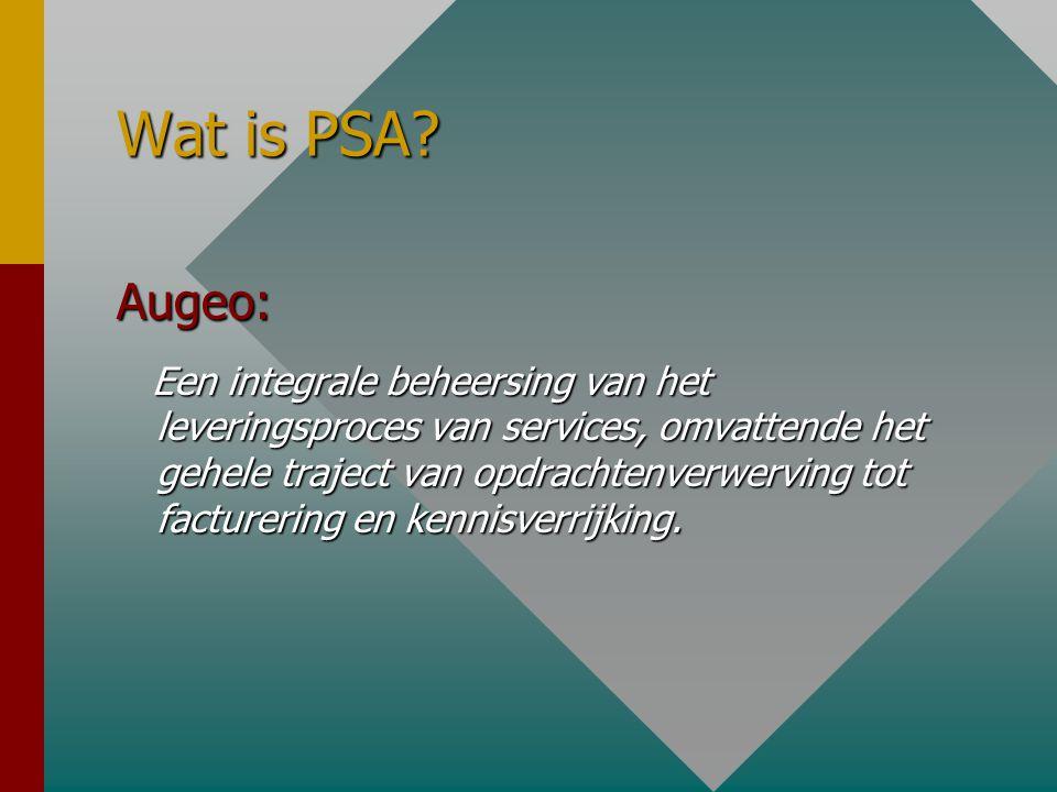Wat is PSA? Augeo: Een integrale beheersing van het leveringsproces van services, omvattende het gehele traject van opdrachtenverwerving tot factureri