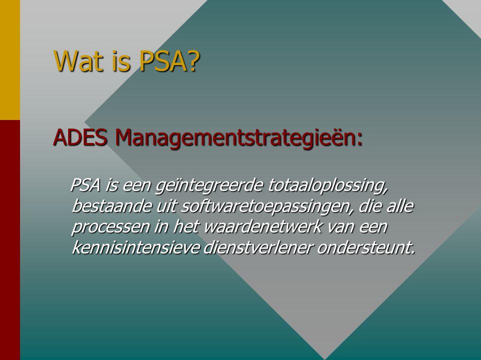 Wat is PSA? ADES Managementstrategieën: PSA is een geïntegreerde totaaloplossing, bestaande uit softwaretoepassingen, die alle processen in het waarde