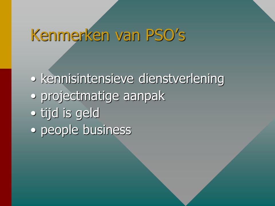 Kenmerken van PSO's •kennisintensieve dienstverlening •projectmatige aanpak •tijd is geld •people business