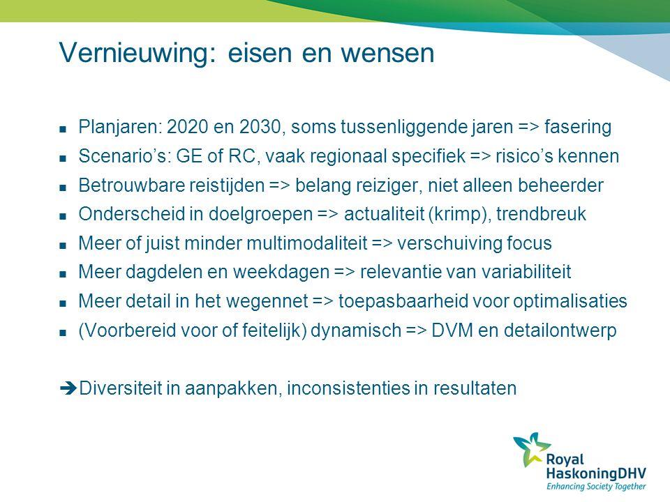 Vernieuwing: eisen en wensen  Planjaren: 2020 en 2030, soms tussenliggende jaren => fasering  Scenario's: GE of RC, vaak regionaal specifiek => risi