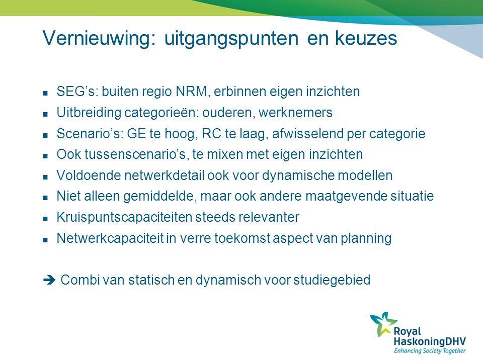 Vernieuwing: uitgangspunten en keuzes  SEG's: buiten regio NRM, erbinnen eigen inzichten  Uitbreiding categorieën: ouderen, werknemers  Scenario's: