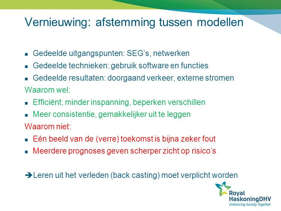 Vernieuwing: afstemming tussen modellen  Gedeelde uitgangspunten: SEG's, netwerken  Gedeelde technieken: gebruik software en functies  Gedeelde res