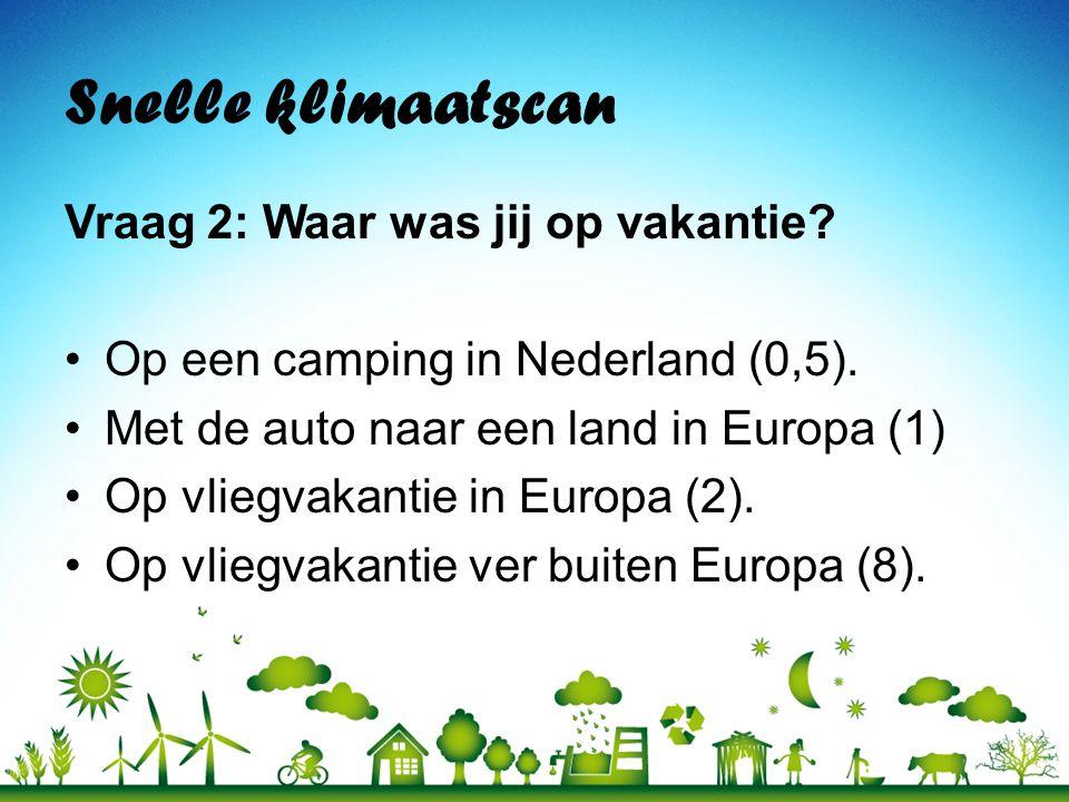 Snelle klimaatscan Vraag 2: Waar was jij op vakantie? •Op een camping in Nederland (0,5). •Met de auto naar een land in Europa (1) •Op vliegvakantie i