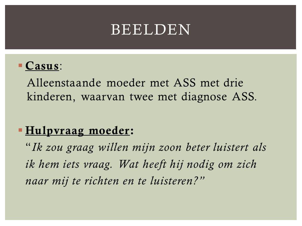  Casus : Alleenstaande moeder met ASS met drie kinderen, waarvan twee met diagnose ASS.