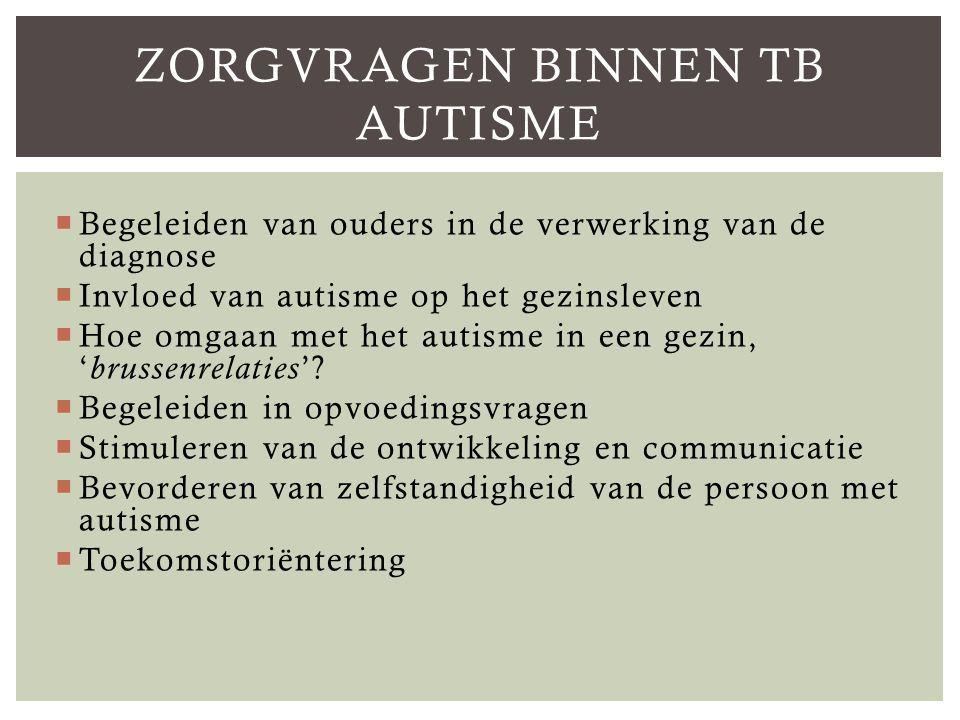  Begeleiden van ouders in de verwerking van de diagnose  Invloed van autisme op het gezinsleven  Hoe omgaan met het autisme in een gezin, ' brussenrelaties '.
